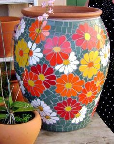 mosaic flooring Best 12 55 best Mosaic f - flooring Mosaic Planters, Mosaic Garden Art, Mosaic Vase, Mosaic Tile Art, Mosaic Flower Pots, Mosaic Artwork, Pebble Mosaic, Mosaic Art Projects, Mosaic Crafts