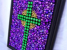 Custom order, Framed Mardi Gras bead mosaic, cross,  purple, green, gold, inspirational art