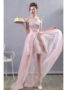 Super Cute Pink High Low Party Dress Strapless With Tulle Girls Bridesmaid Dresses, Prom Dresses, Formal Dresses, European Fashion, European Style, Romantic Girl, Wedding Rentals, Cute Pink, Colorful Fashion