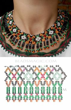Free pattern for necklace Ivanka seed beads 11/0 seed beads 8/0 bugles