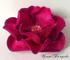 3D Applique Flower Machine Embroidery Design Brooch by BirochkaEmb