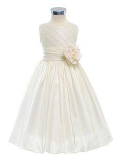 Ivory Lattice Bodice Elegant Flower Girl Dress (Sizes 2-12 in 3 Colors)