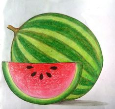 pastel colour watermelon You are in the right place about oil pastels ideas Here we offer you the. Chalk Pastel Art, Oil Pastel Art, Chalk Pastels, Oil Pastels, Watermelon Drawing, Watermelon Art, Basic Drawing For Kids, Easy Drawings For Kids, Crayon Drawings