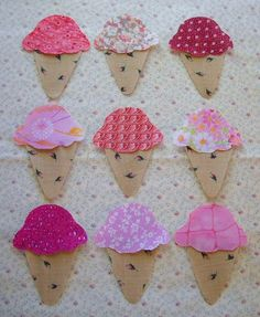 Set of 9 Easy to Use Pink Ice Cream Cone by MarsyesQuiltShop, $9.95  ... I will ship appliques worldwide!