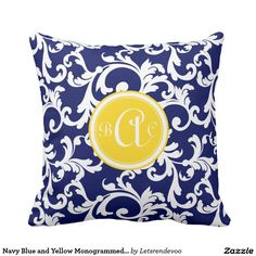 Navy Blue and Yellow Monogrammed Damask Print Throw Pillow
