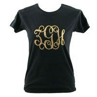 Personalized Black T-Shirt $39  Bridal Party Gift, Housewarming Gift, Christmas Gift, Monogram, Initials