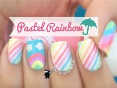 Pastel Rainbow Striping Tape Using GlitterDaze Nail Polish | The Crafty Ninja