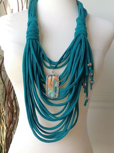 Scarf Necklace: Jade with Fish Pendant