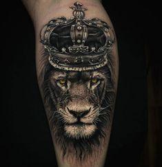 Lion King Tattoo by Szalai Tibor Gorilla Tattoo, Lion Tattoo With Crown, Lion Chest Tattoo, King Crown Tattoo, Lion Tattoo Sleeves, Lion Head Tattoos, Crown Tattoo Design, Mens Lion Tattoo, Leg Tattoo Men