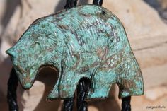 Vintage Southwestern Sterling Silver & Carved Turquoise Grizzly Bear Bolo Tie- New Old Store Stock.
