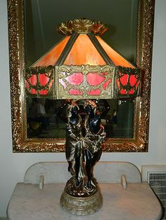 Antique Victorian Era Decor Electric Table Lamp Brass Metal Art Color Glass Gold