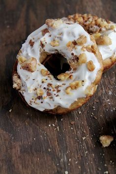 Baked Carrot Cake Doughnuts with Pineapple Cream Cheese Frosting - Don't know if I'd do pineapple in the frosting. I think I'll keep it as plain cream cheese frosting and taste more of the carrot cake.
