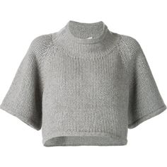 Co cropped sweater ($1,390) ❤ liked on Polyvore featuring tops, sweaters, crop tops, grey, crop top, cashmere sweaters, cropped sweater, gray sweater and grey sweater