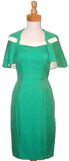 Vintageous, LLC - 1960's Travilla Spring Green Dress w/ Attached Cape