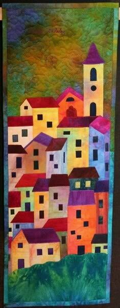 Ideas Sewing Room Inspiration Mini Quilts For 2019 House Quilt Block, House Quilts, Quilting Projects, Quilting Designs, Art Quilting, Quilt Art, Landscape Art Quilts, Landscapes, Arte Pop