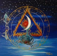 A birth chart painting. Sun, Moon in Cancer, Pisces rising, grand trine in water signs 2014