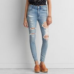 AEO Denim X Hi-Rise Jegging (Jeans) ($50) ❤ liked on Polyvore featuring jeans, arctic destroy, stretch jeggings, denim jeggings, destructed jeans, distressed denim jeans and ripped denim jeans