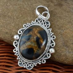 "HOT SELL 925 STERLING SILVER Black Copper Turq PENDANT 9.46g DJP7399 L-1.75"" #Handmade #Pendant"