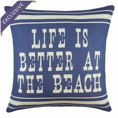 """Handmade in the USA, this linen pillow brings charming style to your decor with a coastal-inspired typographic motif.    Product: PillowConstruction Material: Linen coverColor: Ivory and blueFeatures:  Handmade by TheWatsonShopZipper enclosureMade in the USAInsert included Dimensions: 16"""" x 16""""Cleaning and Care: Spot clean"""
