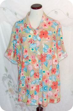 JUST MY SIZE Top Plus Size 2X - 18/20W Womens Tan Orange Floral Short Sleeve…