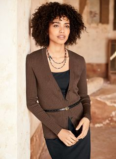 Endlessly useful and year-round versatile, this refined pima cardigan is full-fashion, fine gauge knit in sculptural ribs for a slim, figure-flattering silhouette. Minimally styled with a v-neck and banded rib knit trim, you'll want one in every color.