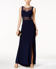 Nightway Sleeveless Illusion-Mesh Fit & Flare Gown - Dresses - Women - Macy's