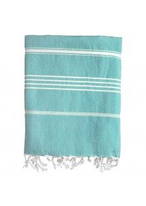 Stripe Fouta Towel  Woven in 100% natural Turkish cotton, this thin-striped fouta is one of our springtime favorites, evoking the sunny and vivid hues of the Mediterranean. Our stripe fouta towel will effortlessly refresh your home by adding visual energy and a spirit of discovery. Lightweight and versatile for use as a beach towel, bath towel, table linen, or throw. Becomes softer and more absorbent with each wash.  - 100% Turkish Cotton  - 40 x 71