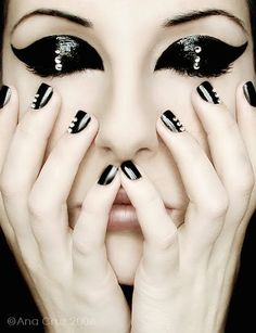 black, girl, make up, metalic, model