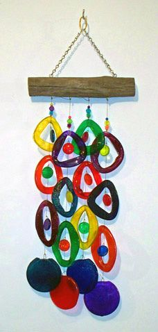 glass wind chime inspiration for melted plasic bottle wind chime, mobile to make with kids , eco recycling art project