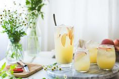 White Nectarine Sangria: nectarines, peaches, ginger, honey, St. Germaine elderflower liqueur, Prosecco