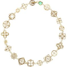 """JUDY GEIB"" Emerald & Gold Casino Royal Short Necklace"
