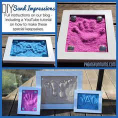 Super Fun DIY Sand Impressions Love Artsy keep-sakes definitely doing these at the beach house w/ each grands vist. mine & their foot prints together walking the beach to remind them of our talks & walks & time spent together on the ocean.