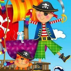 international directory of children's illustrators Pirate Preschool, Pirate Activities, Party Decoration, Class Decoration, Pirate Theme, Pirate Party, Dream Illustration, Decoupage Printables, Graphic Design Fonts