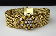 "Lady's Vintage Solid 18kt Gold 1.25ctw. Diamond Omega Hidden Watch Bracelet 7""  #Omega #Dress"
