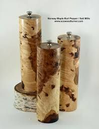 maple and walnut peppermill or salt grinder handcrafted in Toronto Canada from local trees, stainless steel or ceramic grinder mechanism, each one signed & numbered with authenticity certificate. Salt, spice, sugar keeper box with swivelling lid & magnet Tree Logs, Trees, Recycled House, Salt And Pepper Grinders, Maple Burl, Wood Carving Art, Wood Creations, Corporate Gifts, Wood Turning