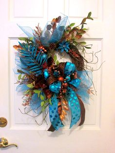 Teal and copper wreath winter wreath by Southernbornnblessed