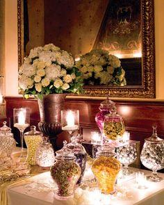 Candy Bar white tea lights high candles