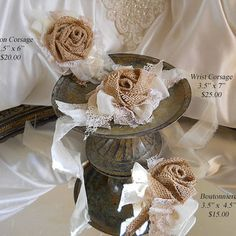 Burlap Wrist Corsages, rustic burlap roses, vintage style shabby chic sheer and stained lace.