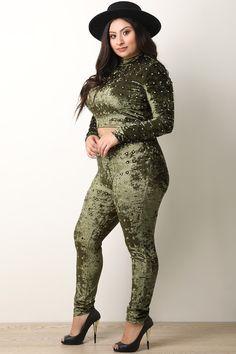 Plus Size Rhinestone Studded Crush Velvet Crop Top And Leggings Set Plus Size Two Piece, Crushed Velvet Fabric, Plus Size Mini Dresses, Crop Top And Leggings, Pin Up Girls, Plus Size Fashion, High Neck Dress, Crop Tops, Formal Dresses