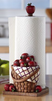 Red Apple Kitchen Paper Towel Holder - Collections Etc. Apple Kitchen Decor, Kitchen Decor Themes, Red Kitchen, Country Kitchen, Apple Decorations For Kitchen, Rustic Kitchen, Kitchen Dining, Paper Towel Holder Kitchen, Towel Holders