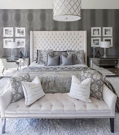 make a bedroom that will be a personal getaway and a sanctuary, that expresses your favorite colors, feelings, and collections. ideas Big Beautiful Bedrooms: 13 Best Bedroom Ideas to Choose Master Bedroom Design, Dream Bedroom, Home Decor Bedroom, Modern Bedroom, Decorating A Bedroom, White Bedroom Suite, Gray Home Decor, Luxury Master Bedroom, Beds Master Bedroom