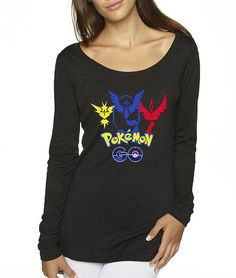allwitty 1115 - Women's Long Sleeve T-Shirt Pokemon GO Instinct Mystic Valor Emblem Decal Logo Above -- Check out the image by visiting the link.