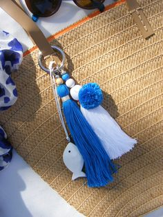 Your place to buy and sell all things handmade Greek Blue, Accesorios Casual, Tassel Keychain, Blue Bags, Gifts For Women, Beaded Jewelry, Tassels, Handmade, Greek Islands