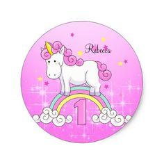 Unicorn Rainbow 1st Birthday Party Custom Classic Round Sticker