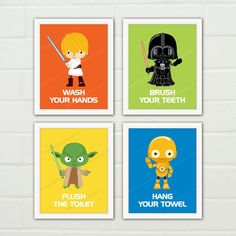 atat bb8 r2d2 star wars bathroom nursery decor children bath decor art print bathroom wall decor for kids set of 4 prints item no