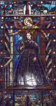 The Captain Sally window at St. James Episcopal Church, Richmond, VA honoring Sally Tompkins, nurse and commissioned Captain in the Confederate Army.