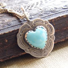 Vintage Necklace Turquoise Heart Sterling by VintageHouseDecor, $175.00