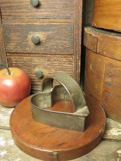 Sweet Early Old Tinware Heart-Shaped Cookie Cutter w. Handle FRIES  $36