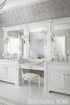 Hampton Designer Showhouse 2013 | Traditional Home - Master Bathroom by Michael Mariotti: The elegant color scheme and chic furnishings in the master bath create an ultra glamorous getaway.