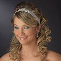 Wedding Hairstyles with Headband and side bangs  for  curly hair